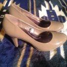 MERONA Dark Beige Patent Leather 3.25 inch Heel Comfort Pump 7M Shoes Nice Color