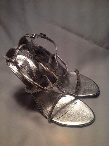 Silver Bride Women's Peep Toe Rhinestone Ankle Strap Dress Heel Sandals MRSP $69