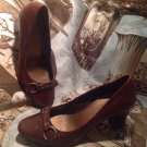 FRANCO SARTO WOMEN'S BROWN LEATHER ROUND TOE PUMPS THICK SEAM BACK HEELS
