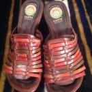 EARTH SPIRIT SZ 7M Birch Strappy Leather Open Toe Wedge Slide Sandals Gelron