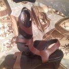 EUC Donald J Pliner 7.5 M Brown Leather Tigris Slingback Thong Sandals MRSP $129