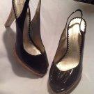 Jessica Simpson Black Patent Leather Slingback Peep Toe Cork Heels Open Toe 10B