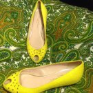 LOEFFLER RANDALL 5.5M  WOMEN'S YELLOW CIRCLE TOE TEXTILE LEATHER MRSP $330 SHOES