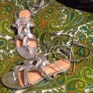 SCHUTZ WOMEN'S BEAUTIFUL SHINY SILVER THONG STRAP SANDALS LEATHER  7M MRSP $219