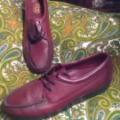 GENUINE SAS COMFORT HANDSEWN WOMEN'S BURGANDY LEATHER LACE UP LOAFERS - SIZE 12M