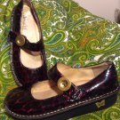 ALEGRIA PG LITE PAL-407 ANIMAL LEOPARD PRINT WOMEN'S 39 MARY JANE SHOES LEATHER