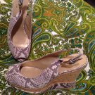 "STUART WEITZMAN ""JEAN"" $385 SNAKE SLINGBACK CORK PLATFORM WEDGE Sandals SZ 8M"