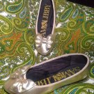 SAM & LIBBY WOMEN'S GOLD BALLET FLATS SHOES W/ BOWS SIZE 7M COMFORTABLE