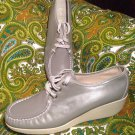 CABIN CREEK 8.5M WOMEN'S GRAY LEATHER LACE UP WEDGE NURSING COMFORT OXFORD SHOES