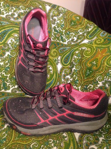 MERRELL ALL OUT RUSH 9M WOMEN'S TRAIL RUNNING SNEAKERS BLACK PARADISE PINK SHOES
