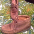 CLARKS WALLABEES NUBUCK LEATHER BROWN MEN'S BOOTS SIZE 7M US CREPE SOLE BOOTS