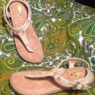 VOLATILE WOMEN'S THONG TOE FLIP FLOP SANDALS  SHOES GOLD REPTILE PRINT FLATS 8M