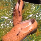 ANNIE WOMEN'S BROWN LUGGAGE LEATHER LOW HEEL ~ELASTIC~ SHOES W/CUTOUTS MRSP $72