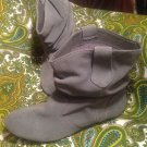 STEVE MADDEN P-HOOPS WOMEN'S GRAY SUEDE LEATHER ANKLE BOOTS SIZE 7.5M MRSP $98