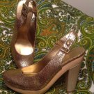 NINE WEST POPGOES 7.5M CHUNKY PLATFORM HEELS WOMEN SHOES CLEOPATRA GOLD BRONZE