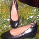 NURTURE 7.5M WOMEN'S BLACK LEATHER WEDGE HEEL ROUND TOE PUMPS SLIP-ONS MRSP $78