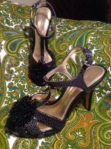 WOMEN'S ANTONIO MELANI ALLEARA BLACK/GRAY FORMAL SANDALS TSTRAP HEELS SIZE 6M