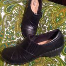 CLARKS COLLECTION WOMEN'S 15260 BLACK LEATHER LIGHT WEIGHT SLIP ON LOAFERS 8.5M
