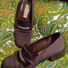 BRIGHTON BROWN FABRIC LEATHER WOMENS LOAFERS W/ SILVER ACCENT HEELS SZ 7.5N