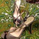 JESSICA SIMPSON CARYS 7.5M WOMEN'S GOLD FABRIC T~STRAP PLATFORM SANDAL MRSP $89