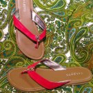 L@@K!  WOMENS TALBOTS 7M RED THONG LOBSTER SANDALS SHOES PATENT SUMMER MRSP $66