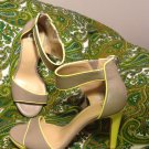 GIANNI BINI 9M WOMEN'S TAUPE & YELLOW PLATFORM  HEEL ANKLE STRAP SANDALS SHOES