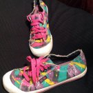 K-9 BY ROCKET DOG JAZZ WOMEN'S 9M ARTWORK PINK GREEN YELLOW SNEAKERS FRAY EDGES