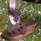 RAMPAGE QUINTA WOMEN'S PEWTER STRAPPY THONG BLING SANDALS SEQUINS SHOES SZ 7M