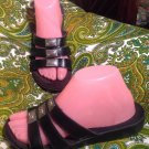 MINNETONKA 7M WOMEN'S BLACK WEDGE SANDALS W/SILVER SQUARE ACCENTS SLIDE-ON SHOES