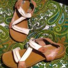 TIMBERLAND WOMEN'S*EARTHKEEPERS CANVAS/LEATHER WHITE/BROWN SANDALS SIZE 7.5M