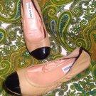 STEVE MADDEN FAVORYTE 6M BALLET FLATS WOMEN'S TAN & BLACK LEATHER UPPER SLIP ONS