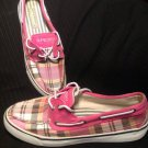 SPERRY TOP-SIDER BISCAYNE PINK WHITE TWO EYE PLAID WOMEN'S BOAT SHOES SZ 9.5M