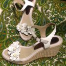 "WOMEN'S BARE TRAPS ""TEASE"" WHITE FLOWERED WEDGE LEATHER SANDALS 7M SHOES"