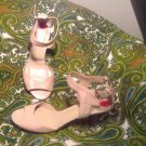 NEW NINE WEST NW7AUGUSTA BEIGE 6M LEATHER ANKLE STRAP WOMEN'S SANDALS MRSP $66