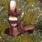 NEW DANA BUCHMAN EVIA 7.5M BROWN LEATHER WOMEN'S SANDALS GOLD SIGNATURE BUCKLE
