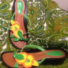 NY V.I.P WOMEN'S MULTI COLOR 10M GREEN ORANGE YELLOW FLIP FLOPS W/ FLOWERS SHOES