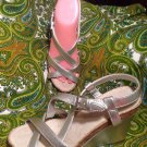 WOMEN'S 6M MERONA NEW SILVER WEDGE STRAPPY 3.75 INCH HEELS SANDALS NWOB SHOES