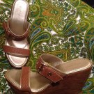 NINE WEST BROWN WOMEN'S SANDALS SHOES LEATHER SLIP ONS WEDGE WEAVE Straps 6.5M