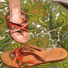WOMEN'S LEATHER STRAPPY SANDALS LORENZO CHELINI MULTI~COLORED BROWN SIZE 40