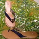 NY&C WOMEN'S BLUE PATENT THONG FLIP FLOP W/ GOLD DISC ACCENT SANDALS SIZE 7M