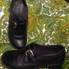 ST. JOHN'S BAY BLACK LEATHER SIDE BUCKLE OXFORDS LOAFERS WOMEN'S SHOES 8.5M