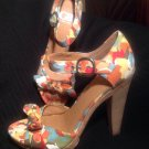 GIANNI BINI FLORAL MULTI COLORED LEATHER/FABRIC ANKLE STRAP HEELS SANDALS 8.5M