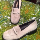 APOSTROPHE WOMEN'S SILVER SUEDE LEATHER LOAFERS SHOES SIZE 7.5M VERY GOOD COND