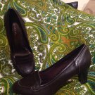 GEORGE PENNY WOMEN'S BROWN MOD LOAFERS HEELS SHOES PUMPS SIZE 6M