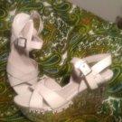 SHOEDAZZLE TARAH 7.5M WOMEN'S WHITE CROSS STRAPS W/SILVER WEDGE HEELS SANDALS