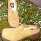 YELLOW BOX DEPOT WOMEN'S BEIGE SUEDE MULES SHOES SIZE 8.5M LEATHER COMFORTABLE