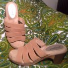 WHITE MOUNTAIN GIFTED TAN WOMEN'S STRAPPY HEELED MULE SANDALS SHOES SIZE 8W