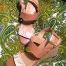 FRANCO SARTO HOOPER 6.5M WOMEN'S LEATHER SNAKE SKIN PRINT STRAPPY WEDGE SANDALS