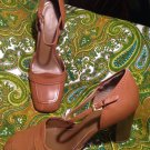 WESTIES GREATSTYLE 8M BROWN LEATHER WOMEN'S ANKLE STRAP CHUNKY HEELS PUMPS SHOES