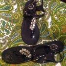 BCBG PARIS BELMA 10M WOMEN'S BLACK PLASTIC THONG SANDALS W/JEWELED TOE STRAP